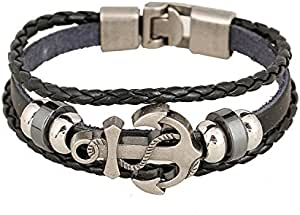 Fashion Jewelry Mens Black Braided Rope Leather Bracelet,Fashion Metal Anchor Bead Charms