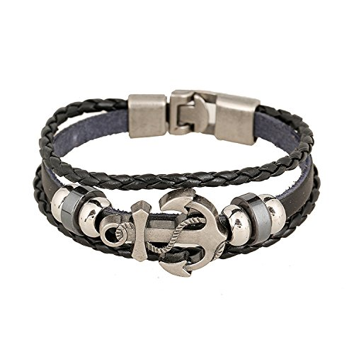 Appmax Retro Cowhide Braided Bracelet Men and Women Alloy Anchor Leather Multi - Layer Bracelet Jewelry