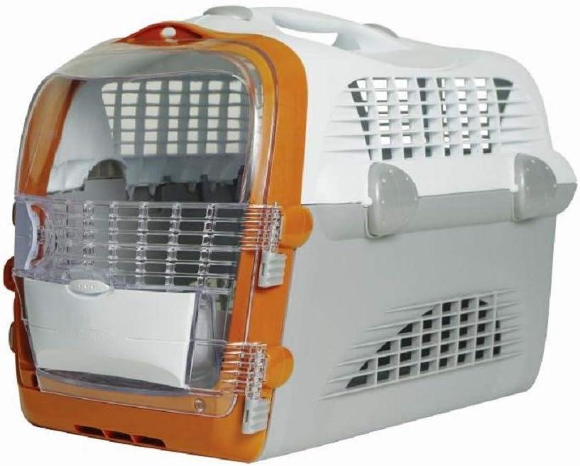 Catit Transportín Pet Cargo Cabrio, 51 x 33 x 35, Color Blanco, Gris y Naranja