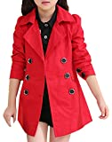JiaYou Girl Child Kid Lapel Double Breasted Outwear Pea Trench Coat(Red,height 59-62Inches)