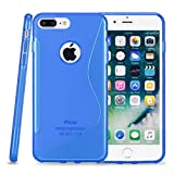 Kit Me Out CAN® Apple iPhone 7 Plus [Shock Absorbing] [Thin Fit] Premium S Line Wave TPU Gel Case Cover Skin Pouch - Blue