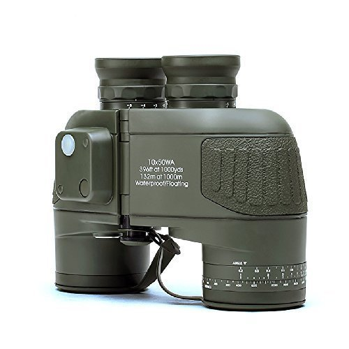 USCAMEL 10x50 Military Waterproof HD Binoculars with Rangefinder Compass - Army Green by USCAMEL