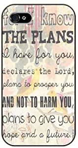 iPhone 5C Bible Verse - For I know the plans I have for you. Declares the Lord. Jeremiah 29:11 - black plastic case / Verses, Inspirational and Motivational