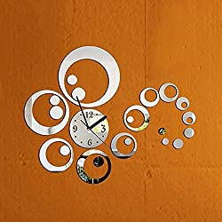 Garwarm Removable Clock Mirror Style DIY Art Wall Stickers Decal Mural for Home Decor - Silver