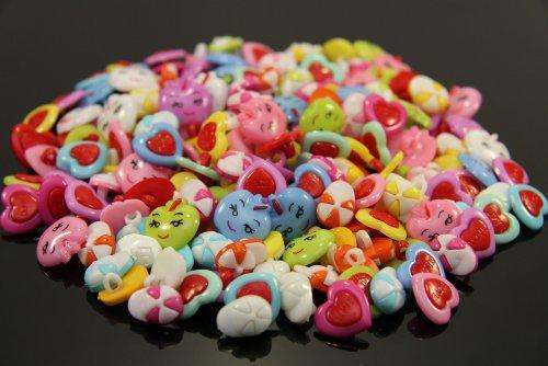 Knöpfe für Kinder Kinderknöpfe Knopf Scrapbooking Mischung aus 125 Knöpfen Äpfel Kappen Love-Herzen