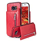 For Samsung Galaxy S7 Pocket Case, Aearl TPU Bumper Shell Back Magnetic Button Closure PU Leather Cover Zipper Wallet Purse Card Holder Photo Frame Slot Kickstand Case for Samsung Galaxy S7 - Red
