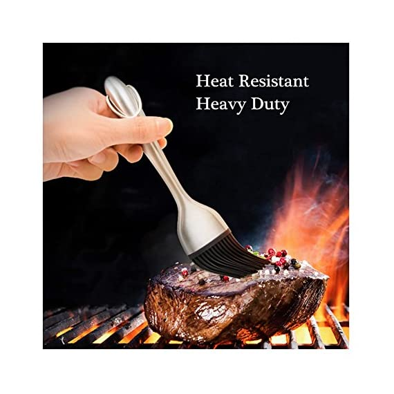 O'YA BBQ Basting Brushes for Grilling Baking Marinating, Food Grade BPA Free Silicone Brush, Set of 3, Two Stainless Steel Handle and One Plastic Handle Silicone Pastry Brush, FDA Proved 4 ❤️FDA PROVED - Our brushes are made with a high performance BPA free silicone. They won't melt, warp, discolor, or shrink. They are heat resistant up to 446⁰F / 230⁰C and can be used in the kitchen, the grill and on non-stick pans. ❤️DISHWASHER SAFE -18/10 stainless steel handles (satin finish) with heat resistant silicone brush head, make it easy to clean the brush and their base. ❤️WELL MADE - Extremely hygienic with seamless & watertight head/handles, hanging loop for easy storage.