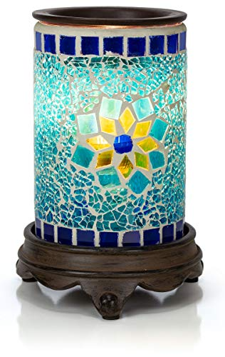 VP Home Mosaic Glass Fragrance Warmer (Sapphire and Gold) (Sunflower Warmer Candle)