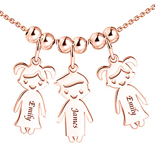 Personalized 1 to 5 Children Charms Mothers Name Necklace in 925 Sterling Silver Rose Gold-Engraved Boy Girl Charm Necklace Ideal