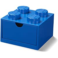 LEGO Escritorio Cajón 4 Pomos Apilables Caja Almacenaje, Azul