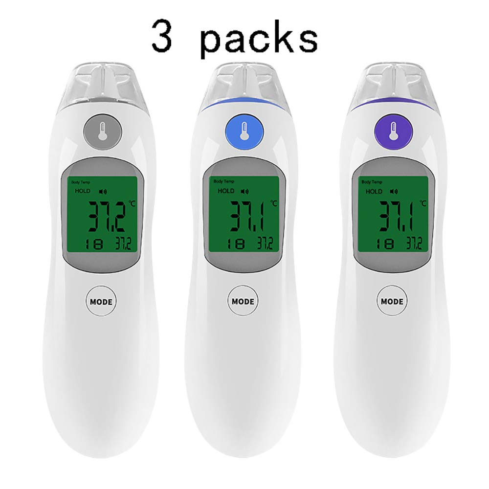 ZUZU Ear and Head Thermometer - Temporal Thermometers - Temperature Measurements for Adults and Kids - Clinical Ear and Tympanic Thermometer for Fever Digital Thermometer-3 Packs,A