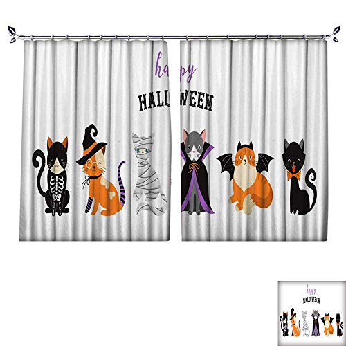 DragonBuildingMaterials Customized Curtains Happy Halloween Cats in Monsters Costumes Halloween Party Vector Illustration Banner Elements Set W55 x L72