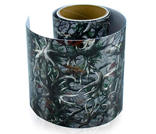 Vinyl Camo Wrap Film with Realistic Deer Skull Camouflage Print Pattern. Bubble-Free Outdoor Adhesive Film 6' x 7 Ft Long Roll for Wrapping Various Items. 8 Year Weatherproof Film
