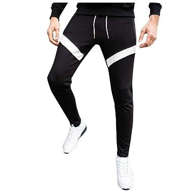 Vectry Pantalones Hombre Otoño Invierno Patchwork Slim Casual ...