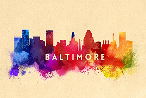 Baltimore, Maryland - Skyline Abstract (16x24 Giclee Gallery Print, Wall Decor Travel - Baltimore The Gallery Hours