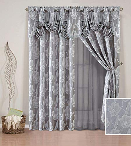 Linen Plus 2 Panel Rod Pocket Embroidery Curtain Drape Set with Sheer Backing, Attached Valance and Tassel Tie Backs New # Leia Grey 2 New Valances Curtains