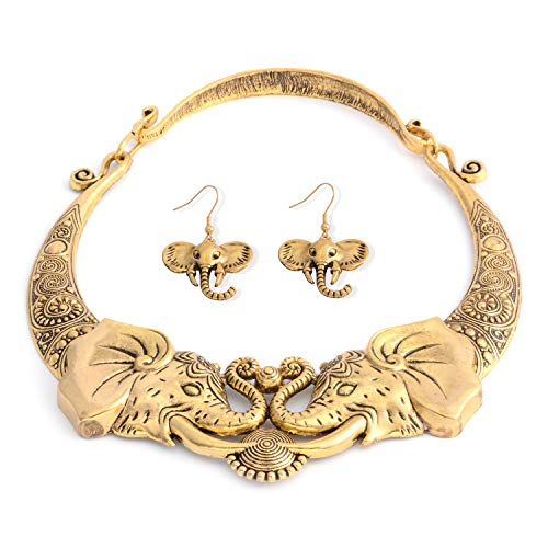 Shop LC Delivering Joy Tribal Boho Handmade Elephant Gold Necklace Earrings Jewelry Set Stainless Steel Jewelry for Women