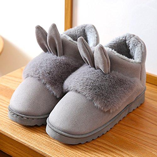 Inverno fankou pantofole di cotone femmina di fondo spesso della bella semi-bag con antiscivolo coppia home home pantofole in lana inverno maschio, 37 piccoli cantieri, grigio
