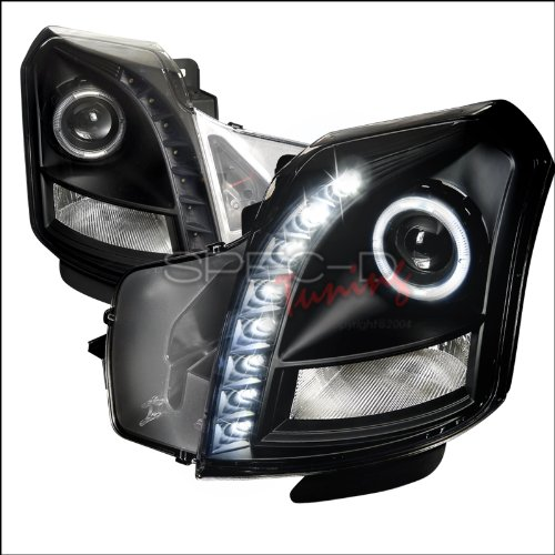 Spec-D Tuning LHP-CTS03JM-RS Cadillac Cts Halo Black Projector Smd Led Drl Headlights Lamps (Halo Cadillac Cts Headlights)