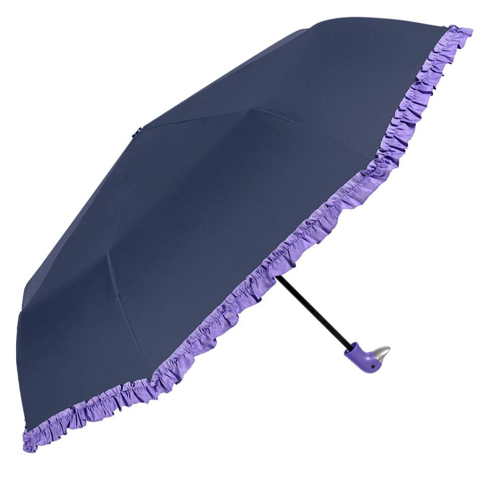 Paraguas Plegable de Mujer con simpático Mango con Forma de Pato y Volantes Lila - Paraguas Mini Perletti Azul, antiviento - Pequeño y Ligero para Llevar en ...