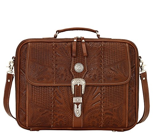 American West 100% Full Grain Leather, Laptop Briefcase Crossbody- Antique Brown from American West