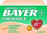 Bayer Aspirin, Chewable, Low Dose (81mg), Orange Flavor, 108 Tablets - Pack of 6