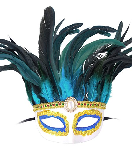 [Feather Masquerade Mask Halloween Costumes Mardi Gras Party Mask Cosplay] (Venetian Carnival Masks)