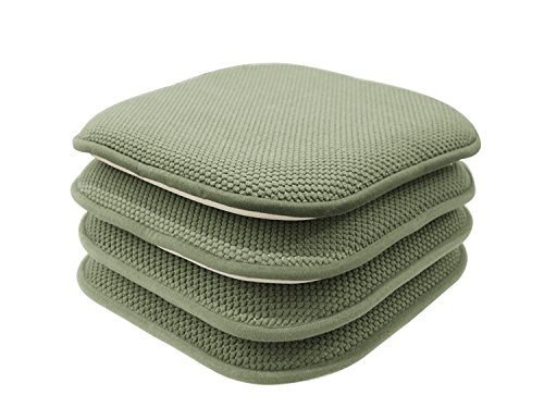 Kitchen Pad (GoodGram 4 Pack Non Slip Honeycomb Premium Comfort Memory Foam Chair Pads/Cushions - Assorted Colors (Sage))