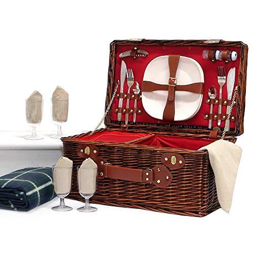 La cesta 'Redgrave' picnic para 4 personas con compartimento refrigerador y accesorios Integrado - ideales idea de regalo para la boda, aniversario, cumpleaños, retiro Fine Food Store