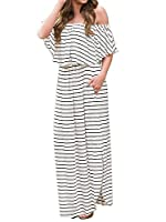 Womens Off The Shoulder Plus Size Ruffle Summer Casual Maxi Dresses with Pockets