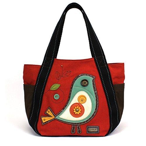 Cotton Top Tote Zip (Chala Carryall Zip Tote, Canvas Handbag, Top Zipper, Animal Prints (Bird - Red))