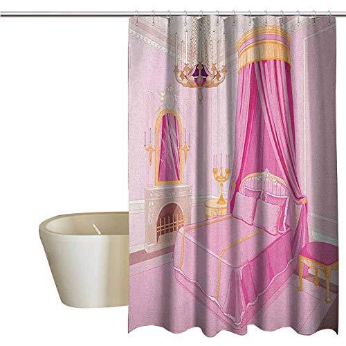Genhequnan Princess Funny Shower Curtain Interior of Magic Princess Bedroom Old Fashioned -