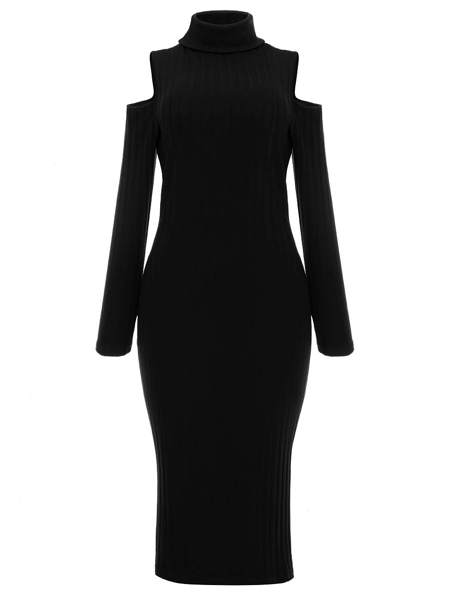 Allcute Women's Black Sexy Turtleneck Cold Shoulder Pullover Pencil Dress for Wedding