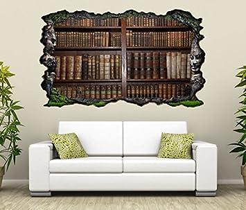 3D Wandtattoo Alte Bücher Buch Regal Antik Bibliothek Selbstklebend  Wandbild Sticker Wohnzimmer Wand Aufkleber 11K143,