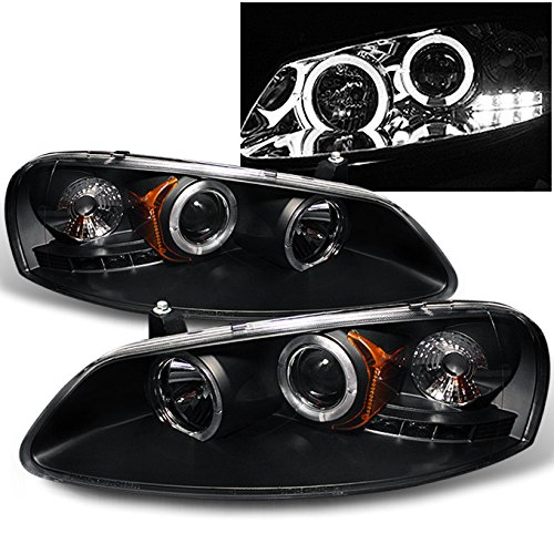 Dodge Sedan Headlight Stratus (For Sebring Stratus 4 Doors Sedan Black Bezel Dual Halo Ring LED Design Projector Headlights Replacement)