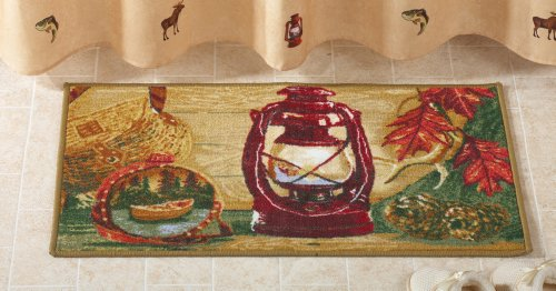 Camping Trip Woodland Bathroom Floor Rug (Lodge Pine Tent)