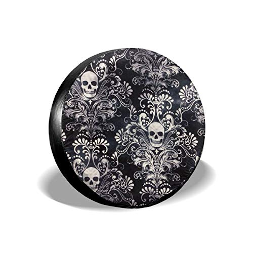 YIXKC Spare Tire Cover 14 Inch Waterproof Gothic Skull Damask Scary Halloween Universal Spare Wheel Tire Cover Fit for Jeep, Trailer, RV, SUV and Many Vehicle