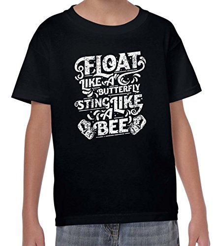 Float Like A Butterfly Sting Likee A Bee Boxing Children's T-Shirt (9 to 10, Black)