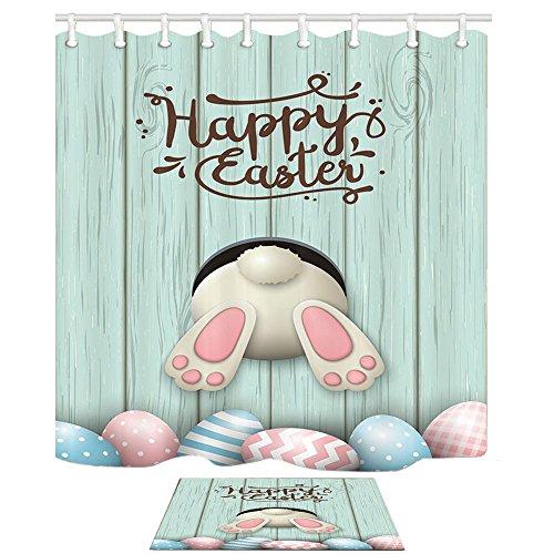 NYMB Cartoon Shower Curtain, Rabbit Wooden Boart Easter Egg Pysanka Osterei, 69X70in Shower Curtain Set 15.7x23.6in Flannel Non-Slip Floor Doormat Bath Rugs