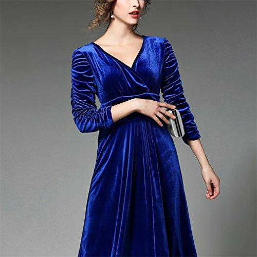 Taille Maxi Cocktailkleider V Elegant Kleid Honghu Damen Langarm Weihnachten Blau Kragen xpYZ0q
