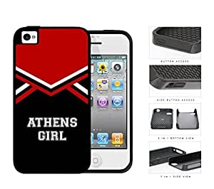 Athens City Girl School Spirit Cheerleading Uniform iPhone 4 4s 2-piece Dual Layer High Impact Black Silicone Cover