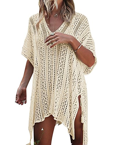 CASILY Summer Bathing Suit Crochet Cover Ups for Swimwear Women Beige