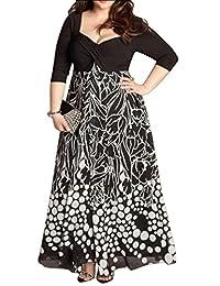 Oberora - Vestido de gasa para mujer, talla grande, manga 3/4, vestido de noche