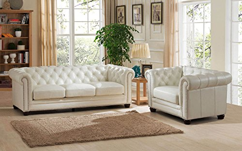 Amax Leather Monaco 100% Leather Sofa and Armchair, Pearl White