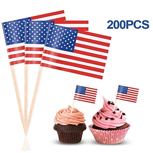 American Flag USA US Flag American Flags PC 200 Flag Cupcake Toppers Stick Flags Mini Stick Flags Picks Party Decoration Celebration Cocktail Food Bar Cake Flags