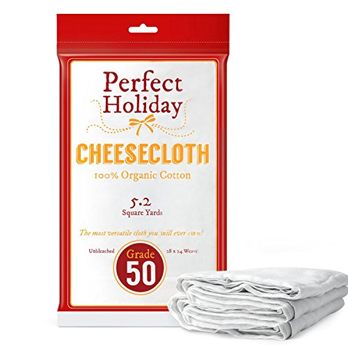 Organic Cheesecloth - Best 100% All Natural Food Grade With Unbleached Cotton - Huge Size - 46.8 Square Feet - 5.2 Square Yards - Your Perfect -