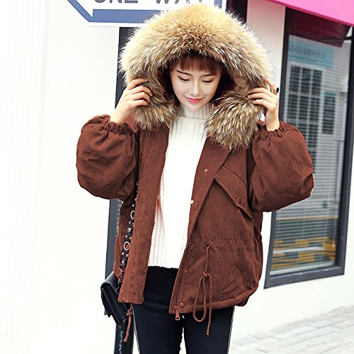Xuanku Corduroy Thick Warm Big Wool Collar Cotton Coat Women Short, Large, Relaxed And Casual Cotton Jacket Female Caramel color 1076