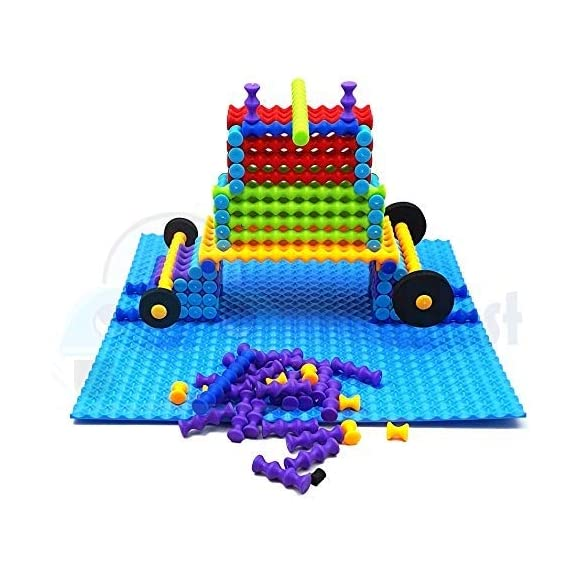 FunBlast Stick Building Blocks Toys for Kids with Wheel and Mat for Kids Puzzle Block Game for Kids,Boys,Children