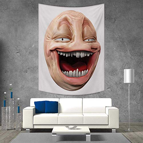 smallbeefly Humor Home Decorations for Living Room Bedroom Poker Face Guy Meme Laughing Mock Person Smug Stupid Odd Post Forum Graphic Wall Art Home Decor 70W x 93L INCH Peach - Walking Set Poker Dead