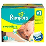 Branded Pampers Swaddlers Diapers Economy Pack - Diaper Size 1 - 216 Ct. ( Weight 8- 14 Lb.) (Bulk Qty at Whoesale Price, Genuine & Soft Baby diaper)